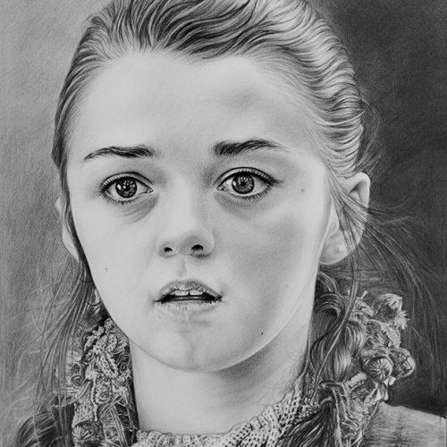 Retrato De Arya Stark A Lápiz